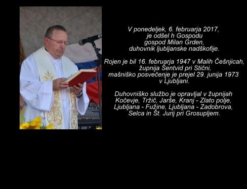 Nagovor nadškofa msgr. Stanislava Zoreta ob pogrebu duhovnika Milana Grdena